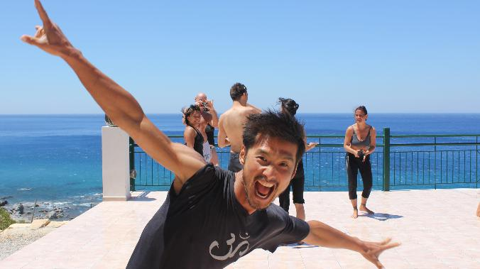 Simon Park flying at Yoga Rocks Crete